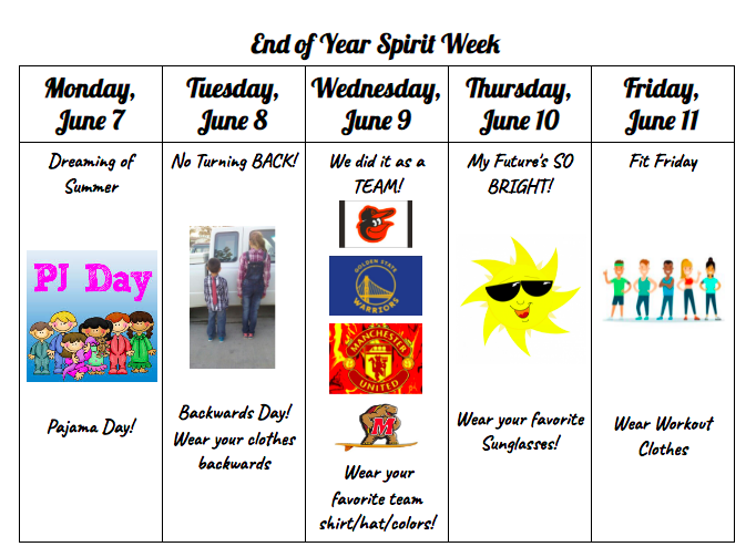 End of Year Spirit Week details