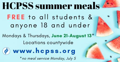 HCPSS Summer Meals details